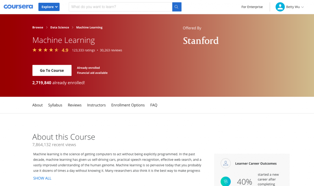 Andrew Ng's Machine Learning Course on Coursera
